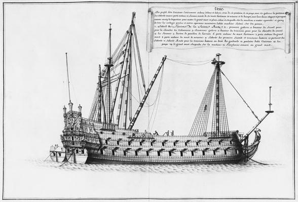 Profile of an inside and outside fully completed vessel, illustration from the 'Atlas de Colbert', plate38