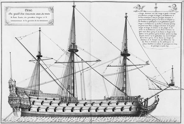 Profile of a vessel with its masts, illustration from the 'Atlas de Colbert', plate 42