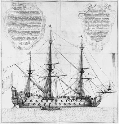 Profile of a vessel in harbour, illustration from the 'Atlas de Colbert', plate 50