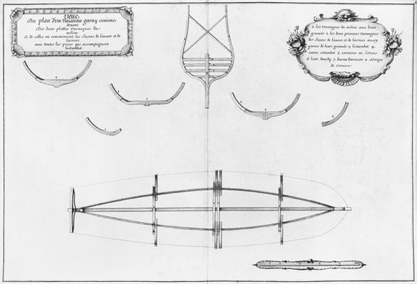 Plan of a vessel with its floor plates, illustration from the 'Atlas de Colbert', plate 4