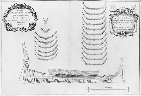 Profile of a vessel with all its floor plates, illustration from the 'Atlas de Colbert', plate 5