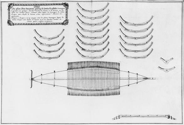 Plan of a vessel with all its floor plates, illustration from the 'Atlas de Colbert', plate 6