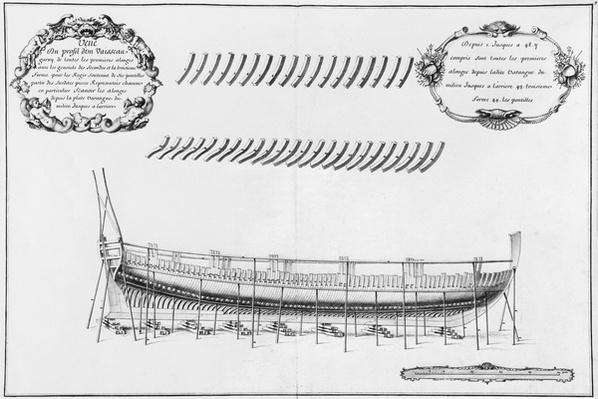 Profile of a vessel, illustration from the 'Atlas de Colbert', plate 9