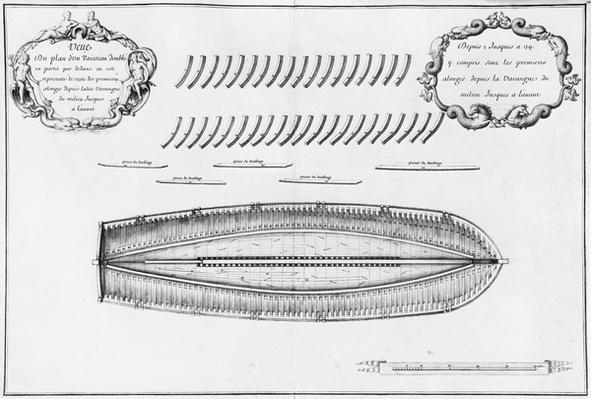 Plan of a vessel partly lined from the inside, illustration from the 'Atlas de Colbert', plate 10