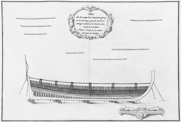 Cross-section of a vessel with its floor plates, illustration from the 'Atlas de Colbert', plate 11