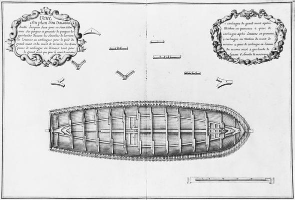 Plan of a vessel lined up to the false deck, illustration from the 'Atlas de Colbert', plate 14
