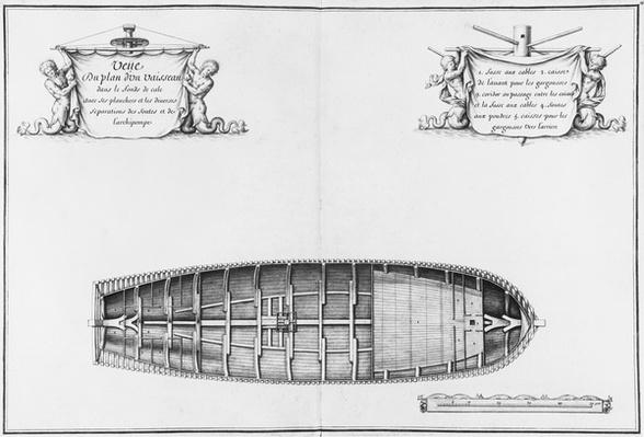 Plan of the hold of a vessel, illustration from the 'Atlas de Colbert', plate15