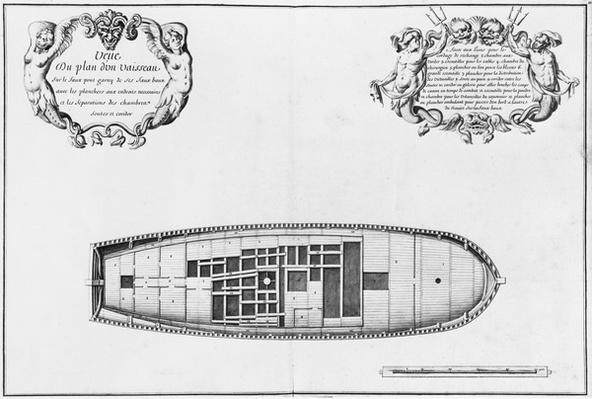 Plan of the false deck of a vessel, illustration from the 'Atlas de Colbert', plate 17