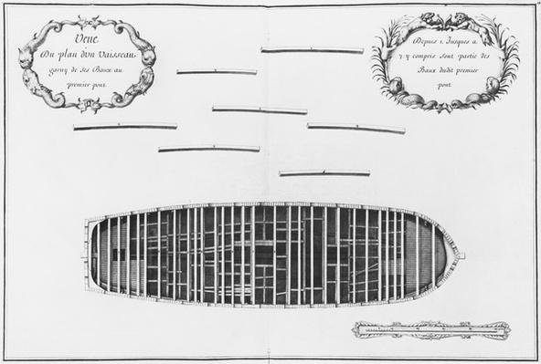 Plan of the first deck of a vessel, illustration from the 'Atlas de Colbert', plate 18