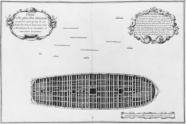 Plan of the first deck of a vessel, illustration from the 'Atlas de Colbert', plate 19