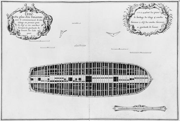 Plan of the first deck of a vessel, illustration from the 'Atlas de Colbert', plate 20