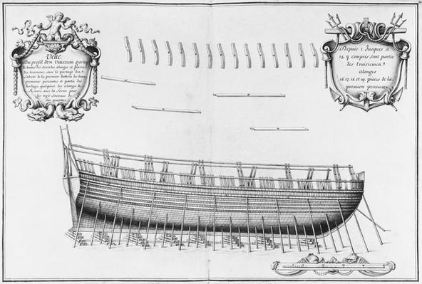Profile of a vessel, illustration from the 'Atlas de Colbert', plate 22