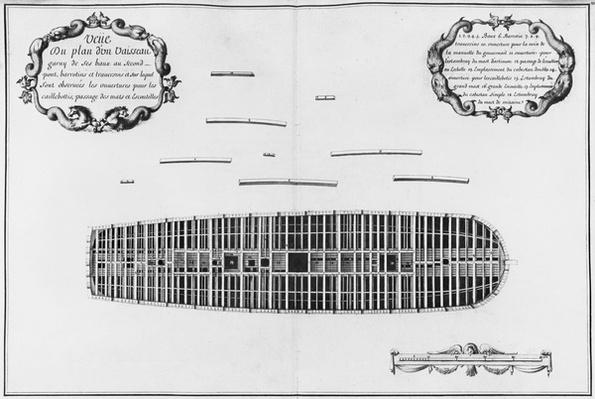 Plan of the second deck of a vessel, illustration from the 'Atlas de Colbert', plate 23