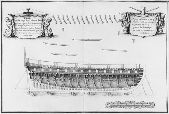 Cross-section of a vessel lined inside, illustration from the 'Atlas de Colbert', plate 24