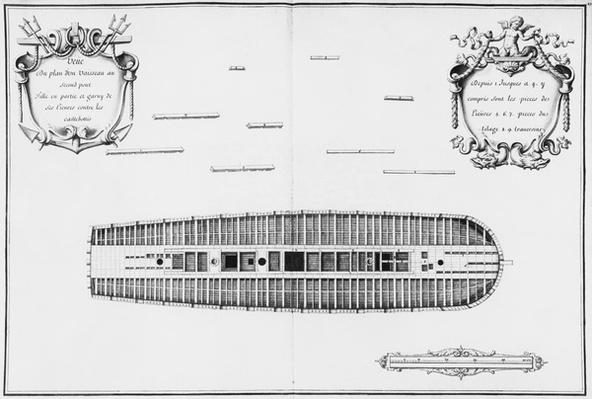 Plan of the second deck of a vessel, illustration from the 'Atlas de Colbert', plate 27