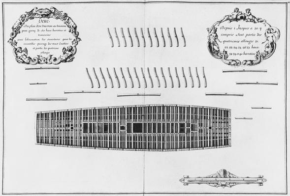 Plan of the third deck of a vessel, illustration from the 'Atlas de Colbert', plate 28