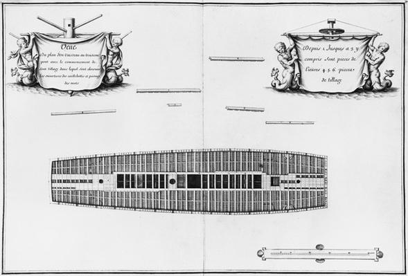 Plan of the third deck of a vessel, illustration from the 'Atlas de Colbert', plate 30