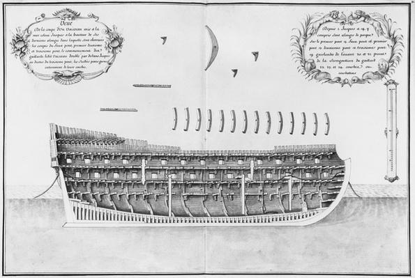 Cross-section of a launched vessel, illustration from the 'Atlas de Colbert', plate 31