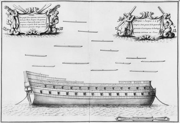 Profile of an entirely planked vessel, illustration from the 'Atlas de Colbert', plate 32
