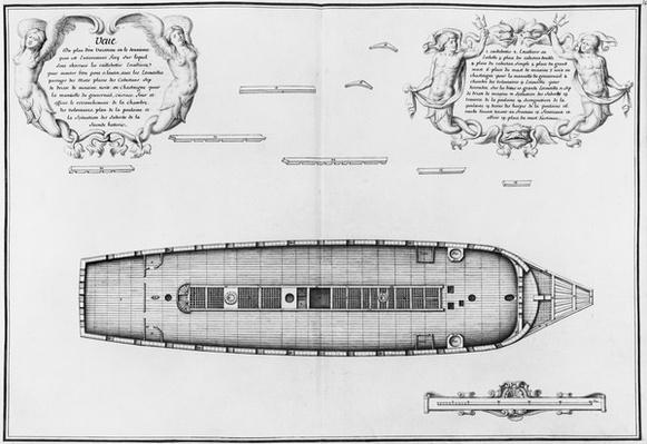 Plan of a vessel with an entirely completed second deck, illustration from the 'Atlas de Colbert', plate 34