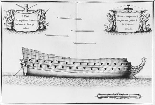 Profile of an entirely planked vessel, illustration from the 'Atlas de Colbert', plate 35