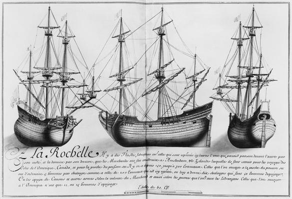 Dutch store ships, La Rochelle, illustration from 'Desseins des differentes manieres de vaisseaux...depuis Nantes jusqu'a Bayonne...', 1679