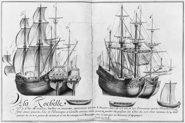 Ships known as 'pinasses', La Rochelle, illustration from 'Desseins des differentes manieres de vaisseaux...depuis Nantes jusqu'a Bayonne...', 1679