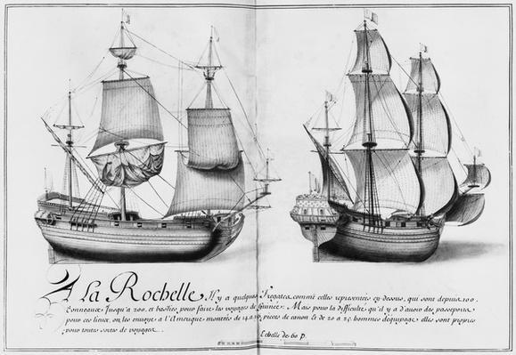 Frigates, La Rochelle, illustration from 'Desseins des differentes manieres de vaisseaux...depuis Nantes jusqu'a Bayonne...', 1679