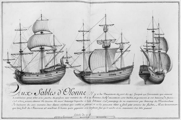 Vessels, Sables d'Olonne, illustration from 'Desseins des differentes manieres de vaisseaux...depuis Nantes jusqu'a Bayonne', 1679