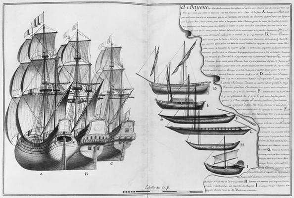 A Dutch store ship, boats known as pinasses and various small boats, Bayonne, illustration from 'Desseins des differentes manieres de vaisseaux...deouis Nantes jusqu'a Bayonne...', 1679