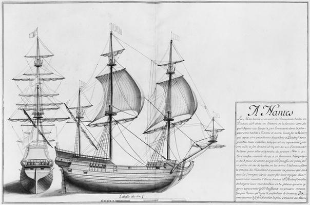 Vessels, Nantes, illustration from 'Desseins des differentes manieres de vaisseaux...depuis Nantes jusqu'a Bayonne...', 1679