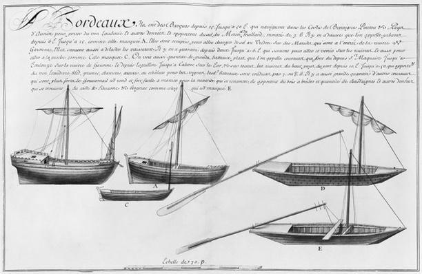 Small boats, Bordeaux, illustration from 'Desseins des differentes manieres de Vaisseaux...depuis Nantes jusqu'a Bayonne', 1679