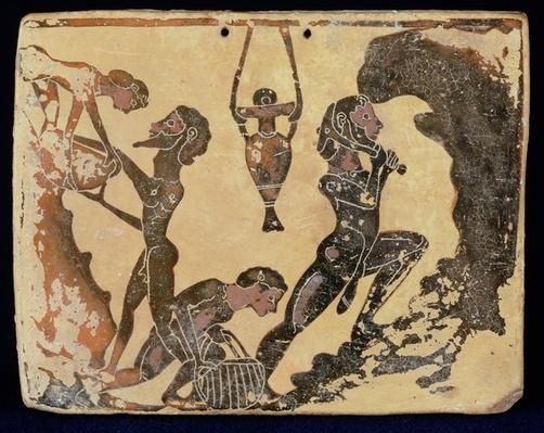 A Corinthian plaque depicting workers in a Clay Pit, from Penteskophia near Corinth, 575-550 BC