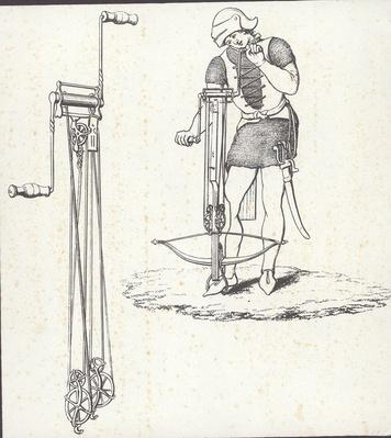 Windlass mechanism for cocking crossbow, illustration from 'Ancient Armour', 1860