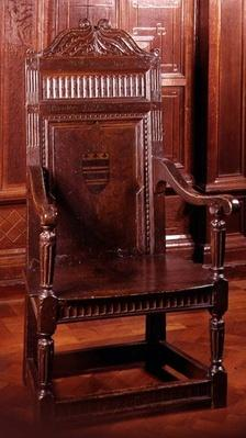 Armchair painted with armorial device surrounded by dentil ornament, Yorkshire, early 17th century