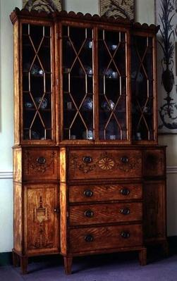 Painted and inlaid secretaire bookcase, c.1785