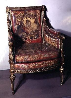 Carved armchair, upholstered in tapestry, c.1780