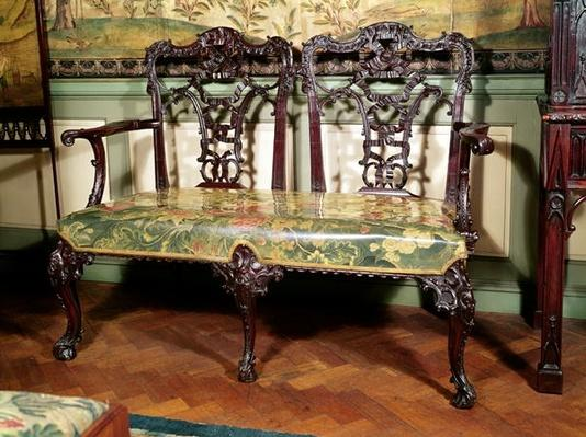 Carved sofa, with tapestry seat, similar to design by Thomas Chippendale, mid 18th century