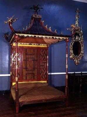 Chinese style Chippendale bed, from Badminton, Gloucestershire, 1750-54