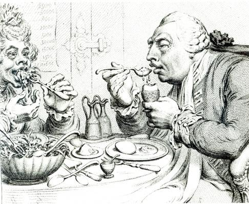 Temperance Enjoying a Frugal Meal, caricature of George III and Queen Charlotte