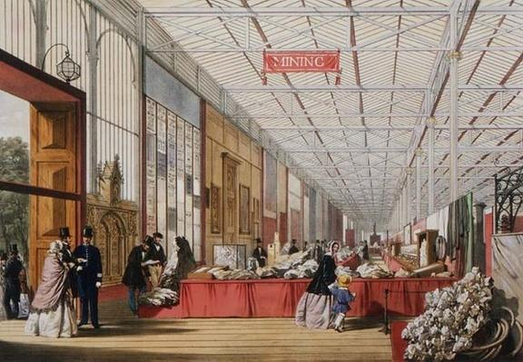Minerals: Gallery displaying rocks and crystals at the Great Exhibition in 1851, from 'Dickinson's Comprehensive Pictures'