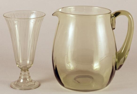 Acid etched vase by James Powell and Sons, 1913 and jug designed by James Hogan for James Powell and Sons, 1935