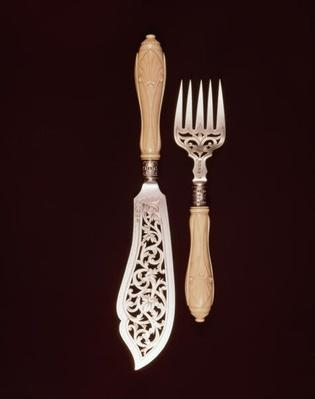 Fish-servers with carved ivory handles by J.Whipple and Co., Exeter, 1880