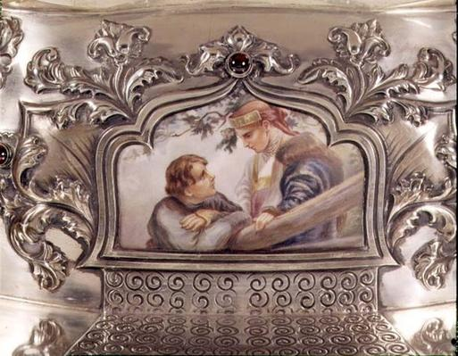 En Plein enamelled plaque from Russian silver centrepiece, late 19th century