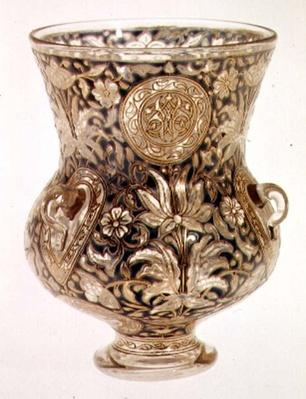 Hanging lamp with gilt and enamelled decoration in Islamic style by Joseph Brocard, 1878