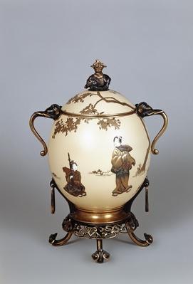 Ostrich egg covered container, lacquer decoration and bronze mounts by Barbedienne & Co., 1870