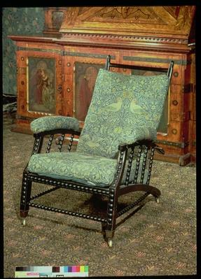 Chair by William Morris, upholstered in original 'Bird' woollen tapestry, c.1870