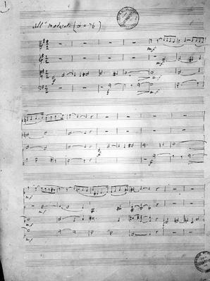 Music Score for a String quartet, Opus 121, 1924