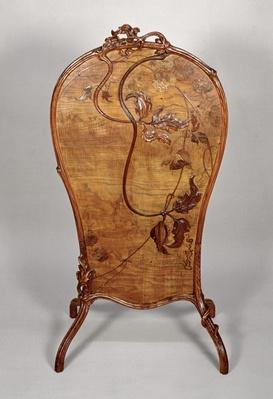 Fire screen with marquetry of various woods, 1900