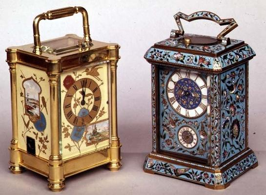 Two French carriage clocks with enamel decoration, c.1870